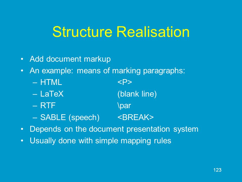 Structure Realisation