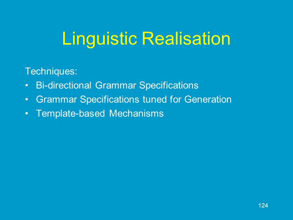 Linguistic Realisation