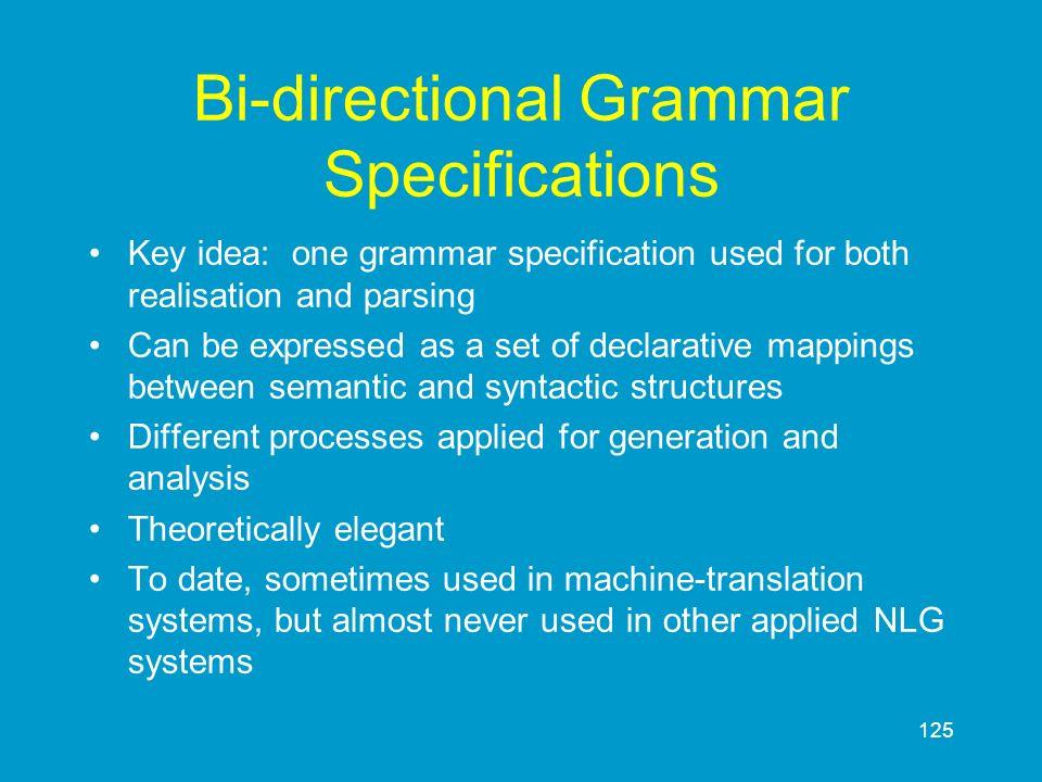 Bi-directional Grammar Specifications