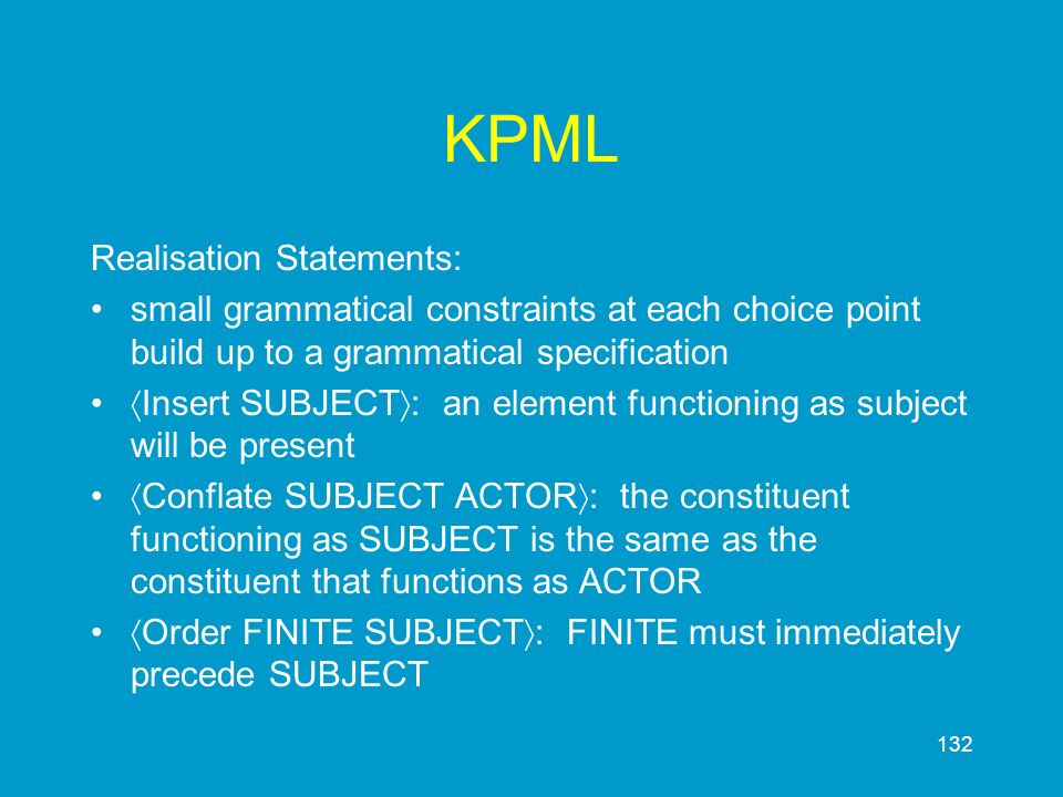 KPML Realisation Statements:
