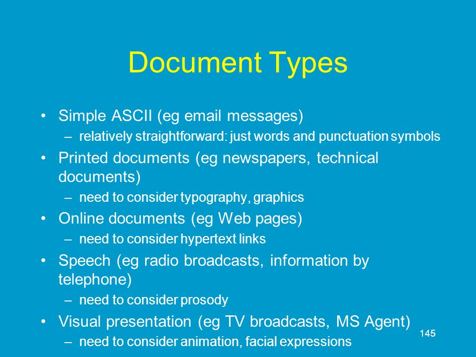 Document Types Simple ASCII (eg email messages)