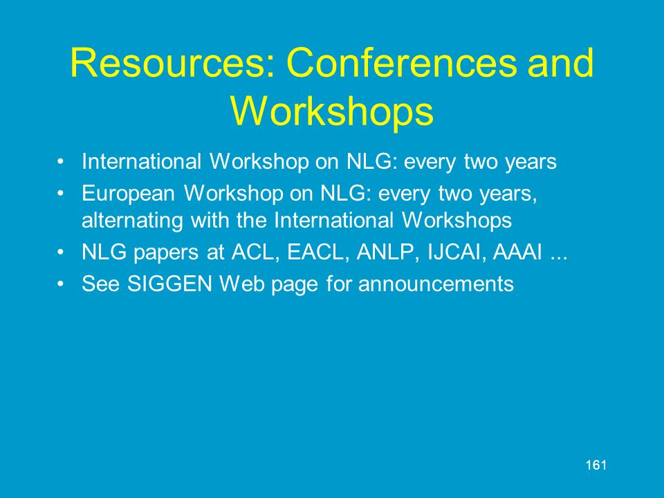 Resources: Conferences and Workshops