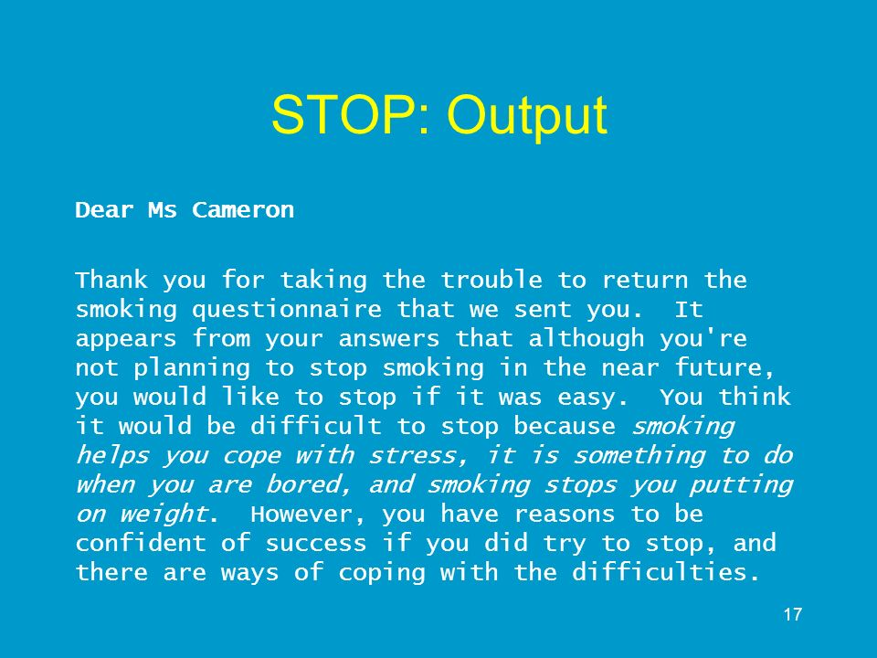 STOP: Output Dear Ms Cameron
