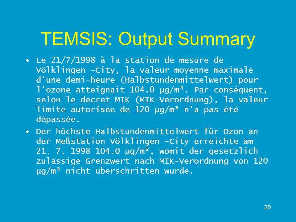 TEMSIS: Output Summary