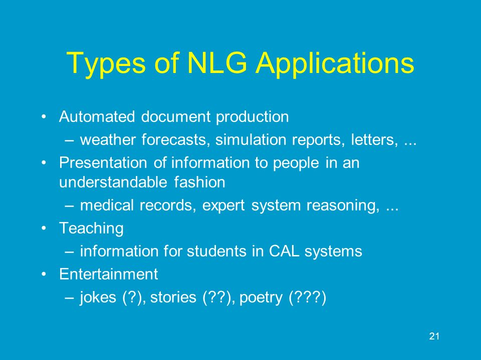 Types of NLG Applications