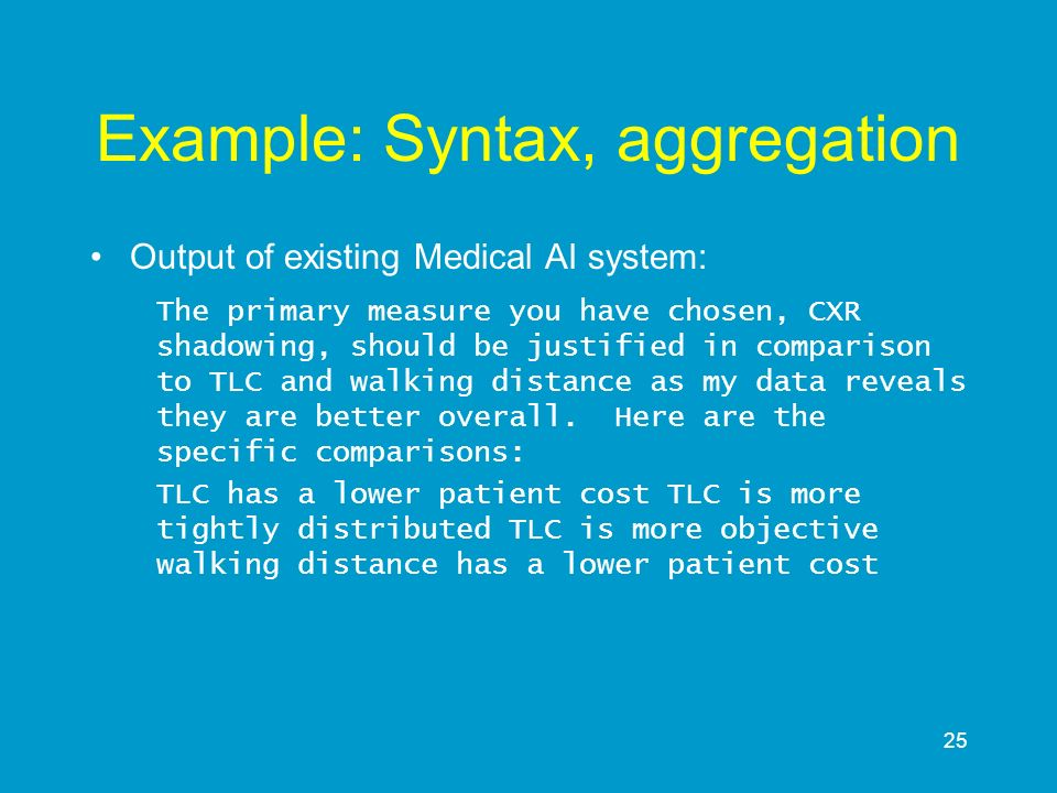 Example: Syntax, aggregation