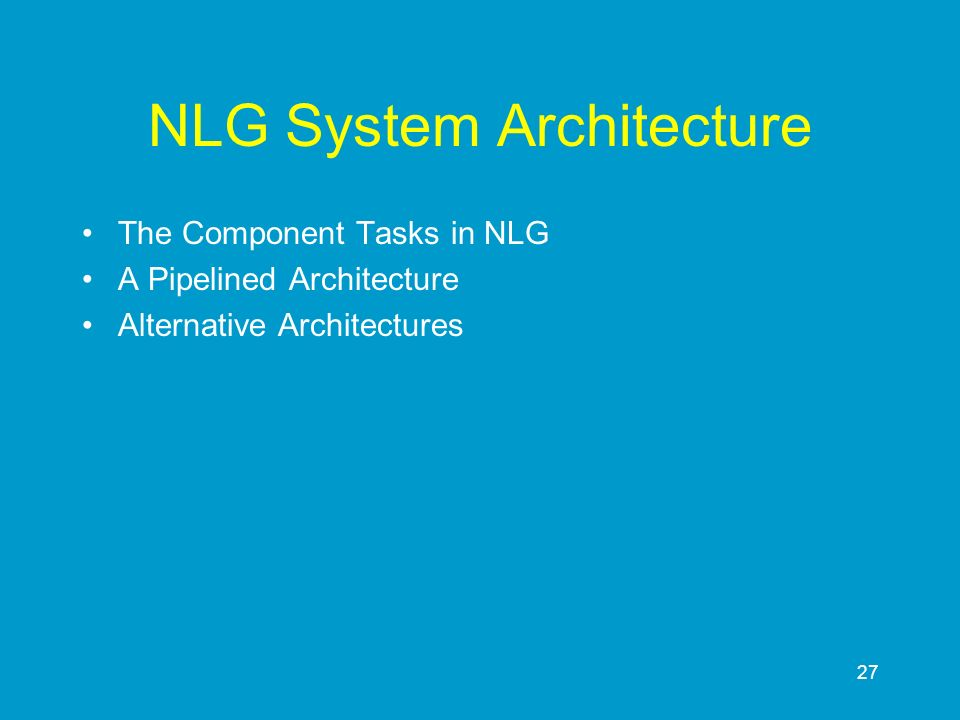NLG System Architecture