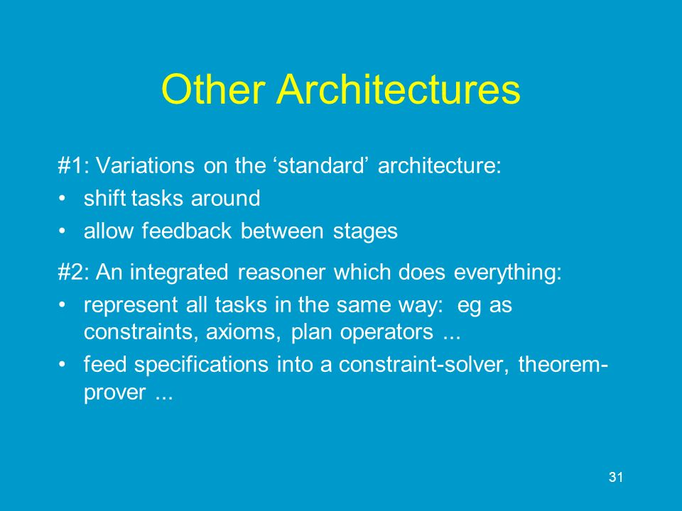 Other Architectures #1: Variations on the 'standard' architecture: