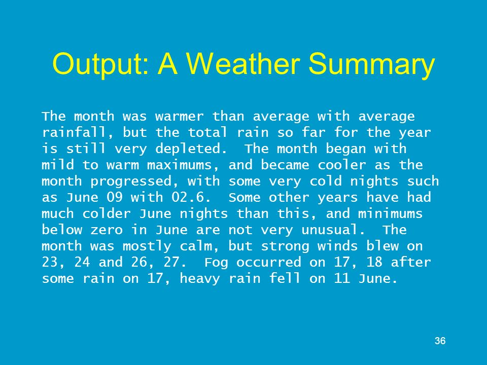 Output: A Weather Summary