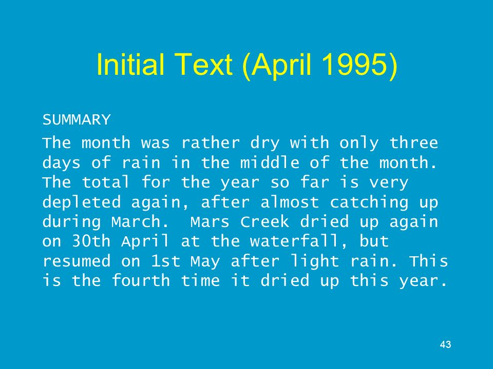 Initial Text (April 1995) SUMMARY