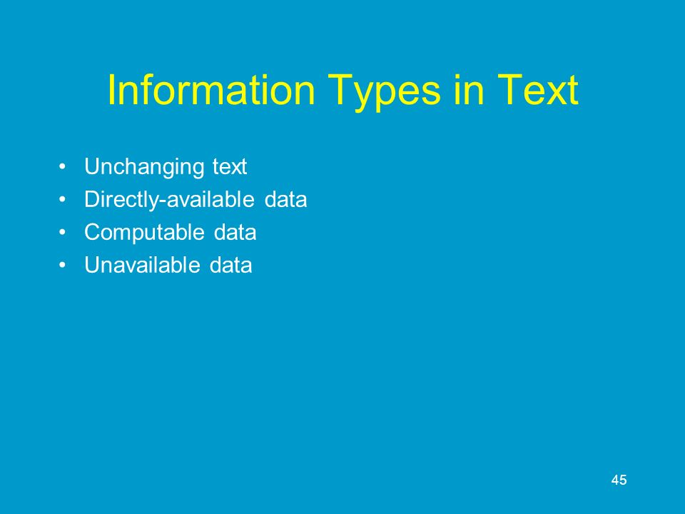 Information Types in Text