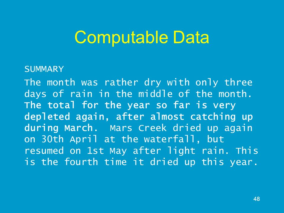 Computable Data SUMMARY
