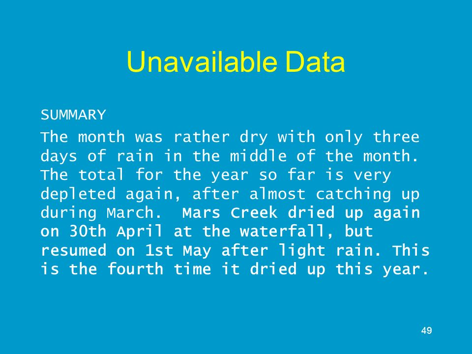 Unavailable Data SUMMARY