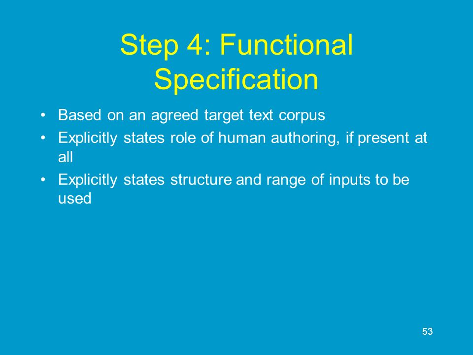 Step 4: Functional Specification