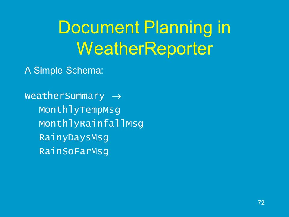 Document Planning in WeatherReporter