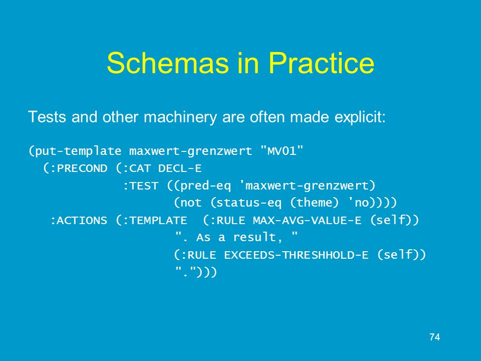 Schemas in Practice Tests and other machinery are often made explicit: