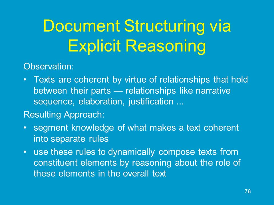 Document Structuring via Explicit Reasoning