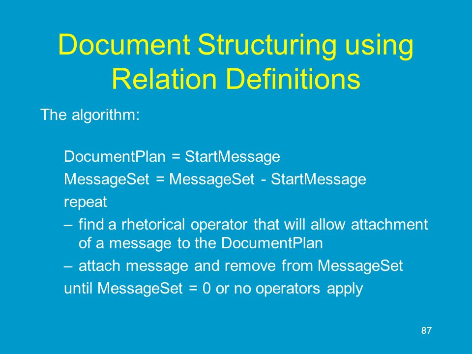 Document Structuring using Relation Definitions