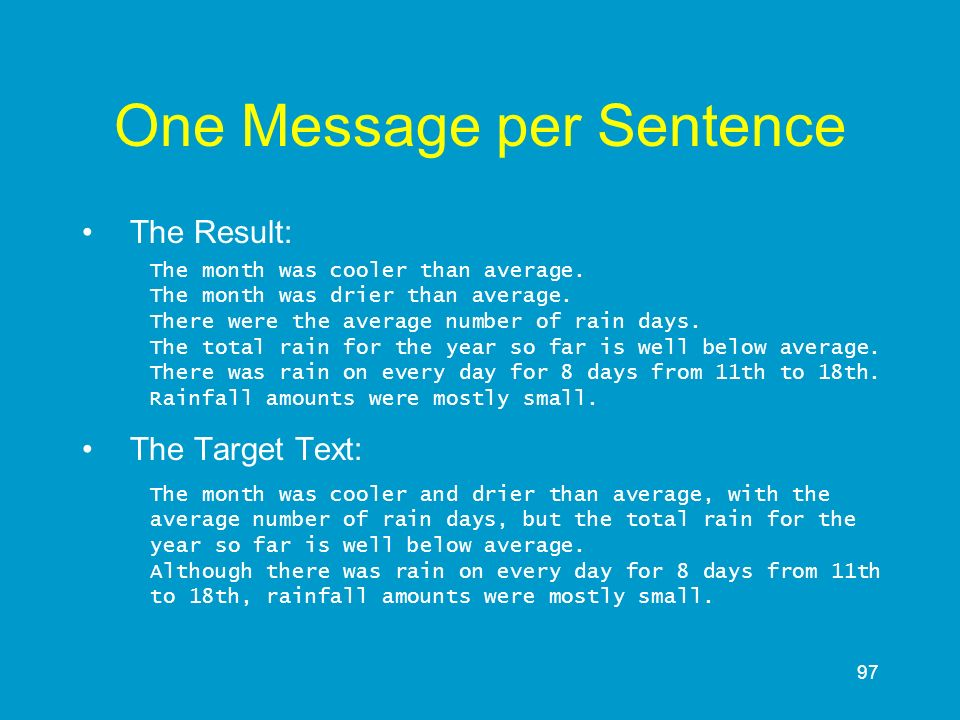 One Message per Sentence