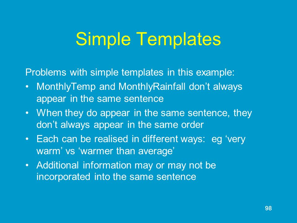 Simple Templates Problems with simple templates in this example: