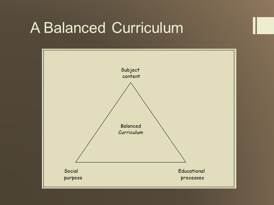 A Balanced Curriculum