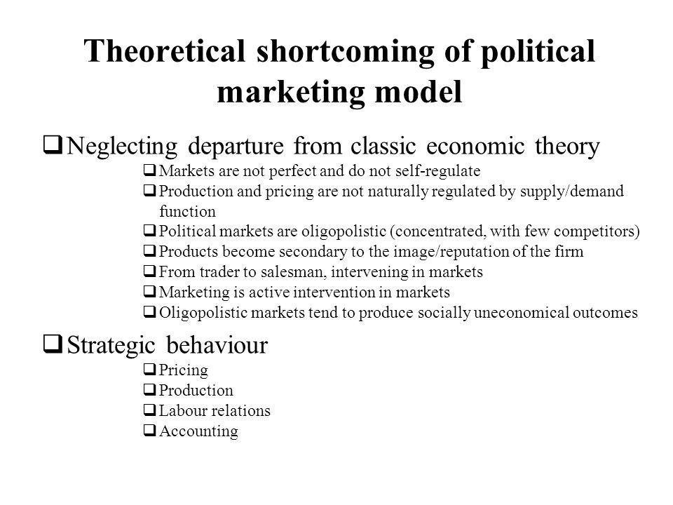 Theoretical shortcoming of political marketing model