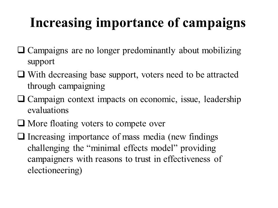 Increasing importance of campaigns