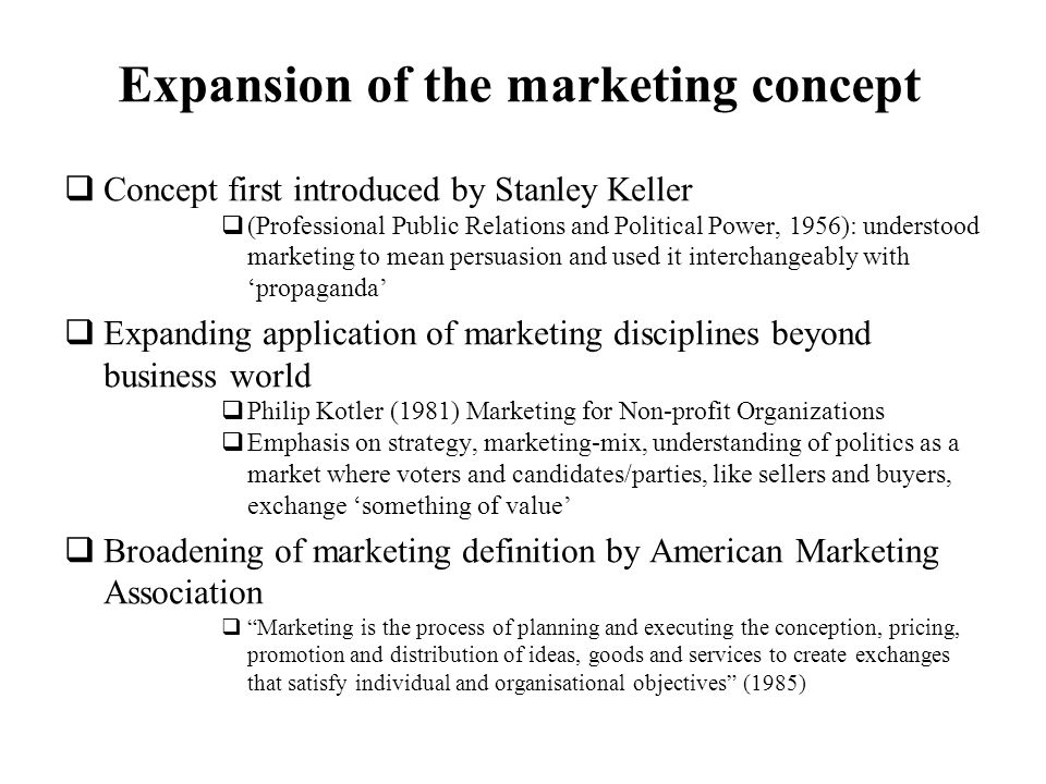 Expansion of the marketing concept
