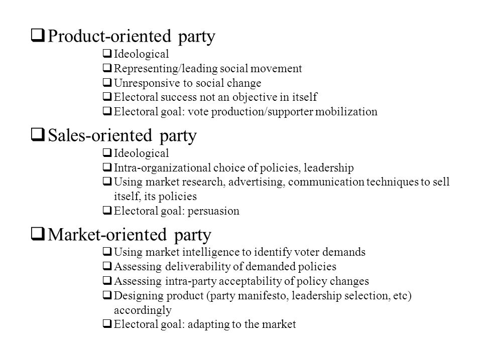 Product-oriented party