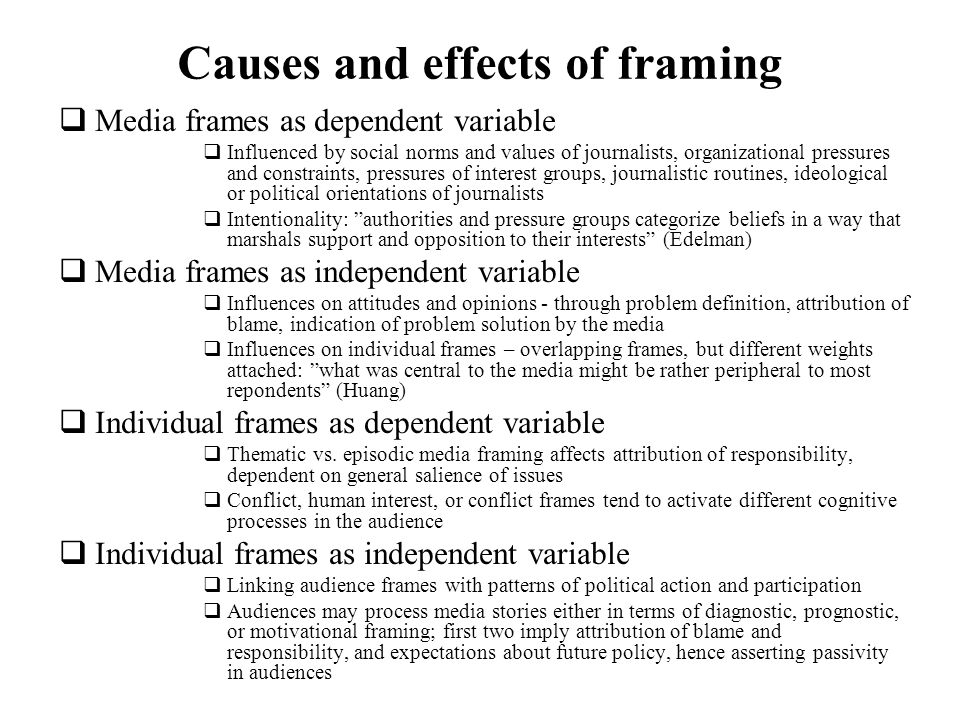 Causes and effects of framing