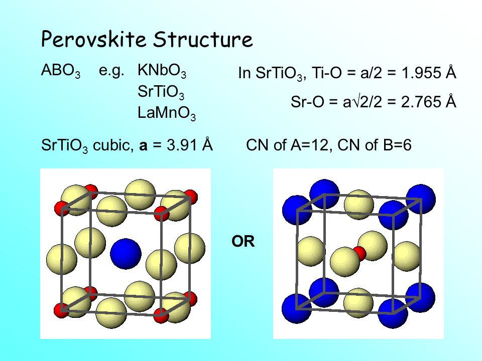 Perovskite Structure In SrTiO3, Ti-O = a/2 = 1.955 Å