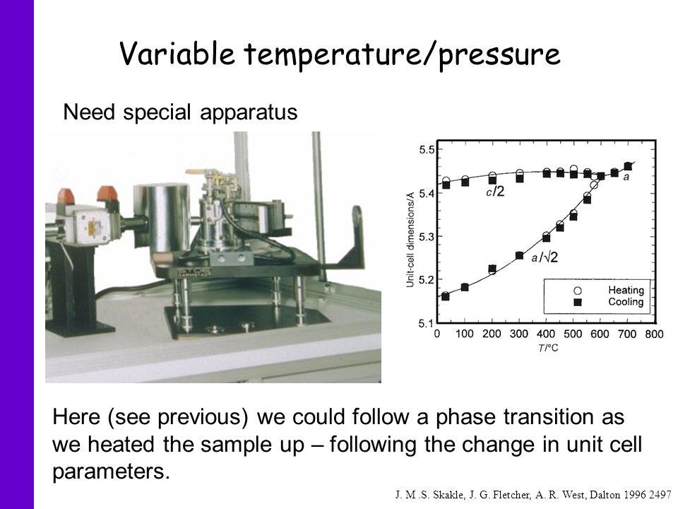 Variable temperature/pressure