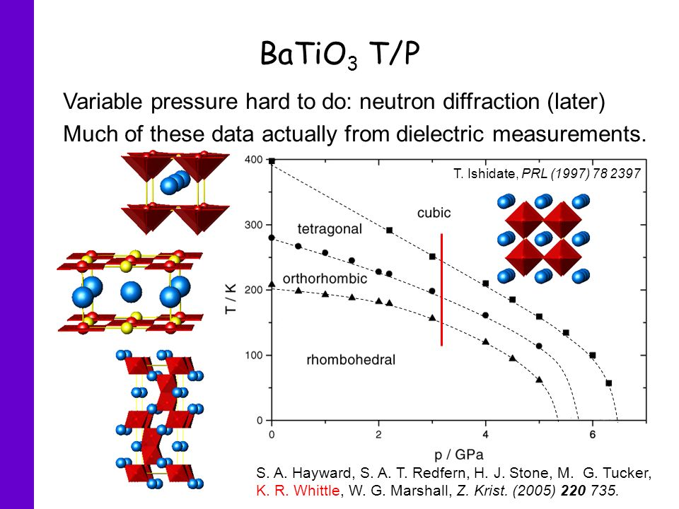 BaTiO3 T/P Variable pressure hard to do: neutron diffraction (later)