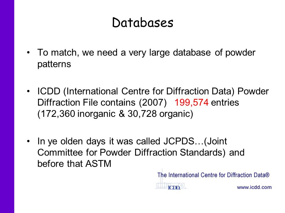 Databases To match, we need a very large database of powder patterns