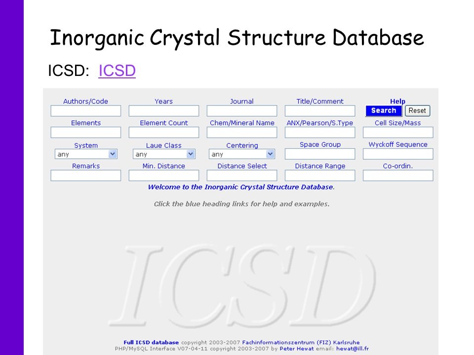 Inorganic Crystal Structure Database