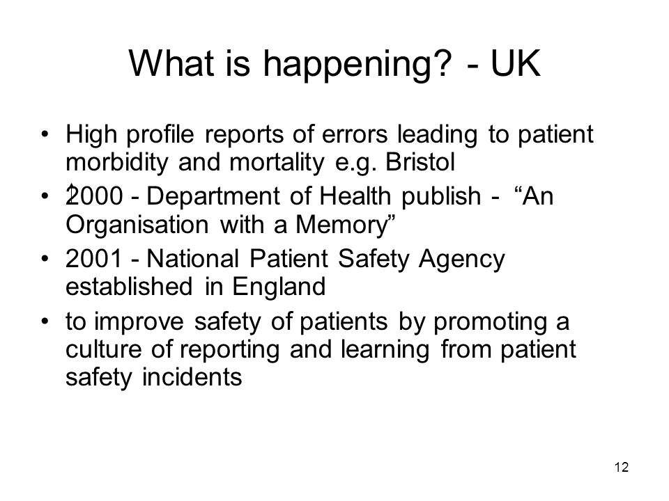 What is happening - UK High profile reports of errors leading to patient morbidity and mortality e.g. Bristol.