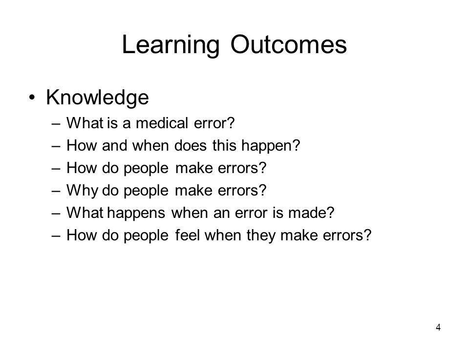 Learning Outcomes Knowledge What is a medical error