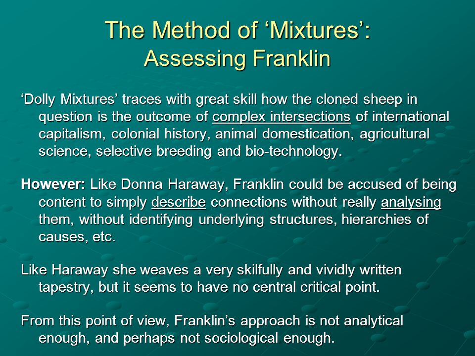 The Method of 'Mixtures': Assessing Franklin