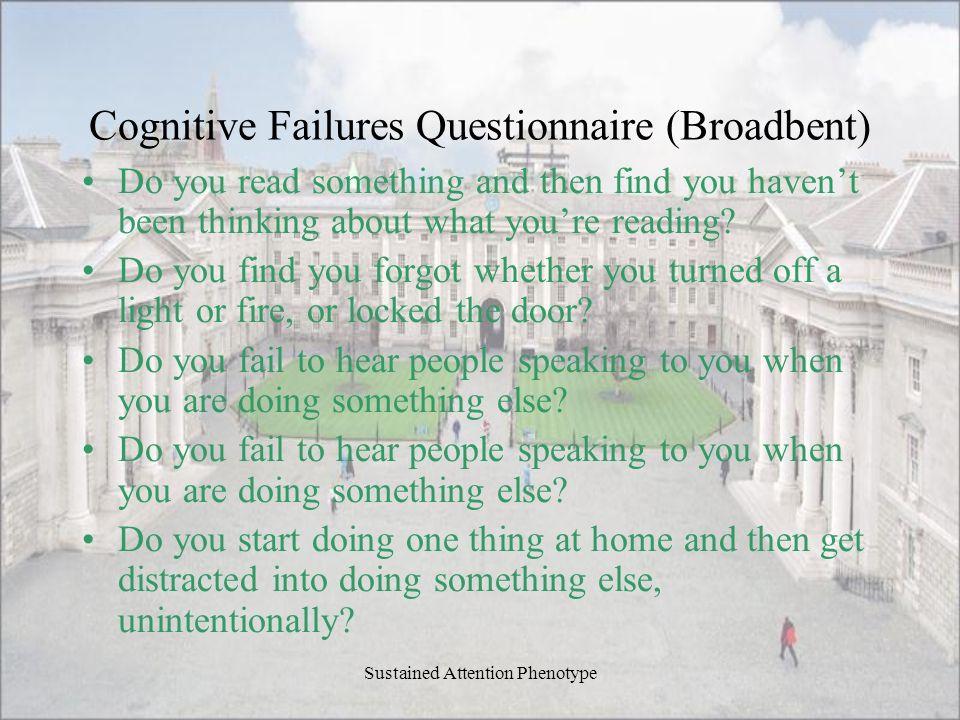 Cognitive Failures Questionnaire (Broadbent)