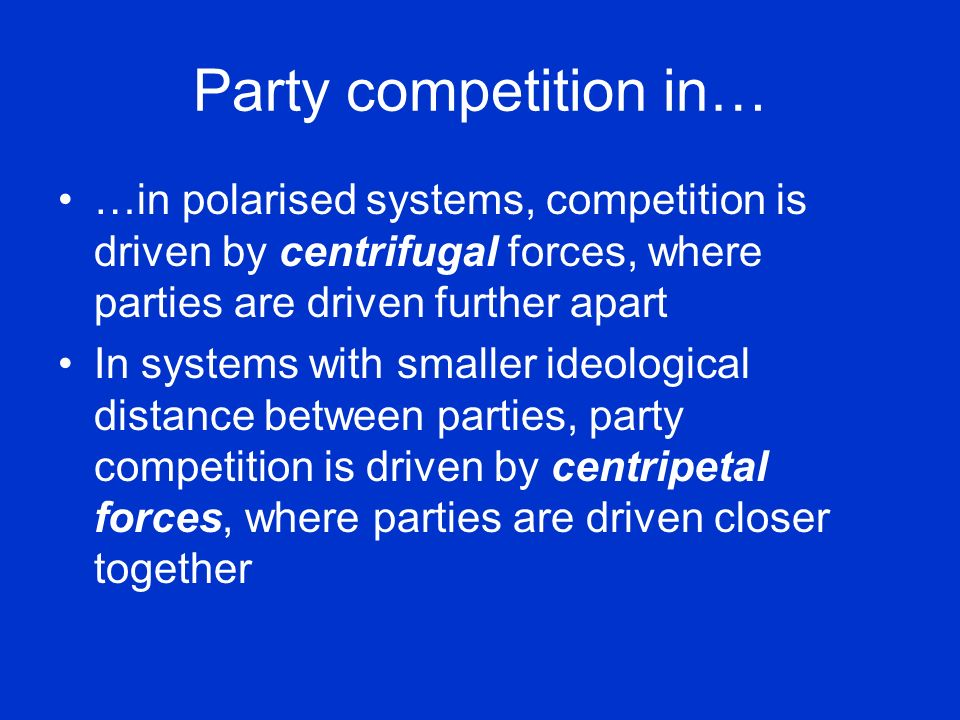 Party competition in… …in polarised systems, competition is driven by centrifugal forces, where parties are driven further apart.