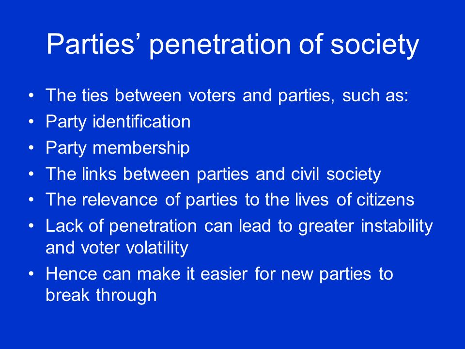 Parties' penetration of society