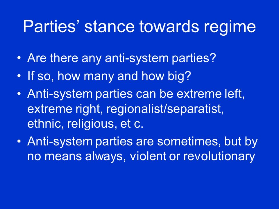 Parties' stance towards regime