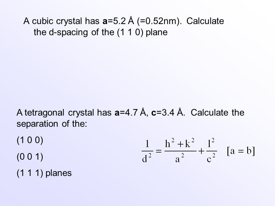 A cubic crystal has a=5. 2 Å (=0. 52nm)