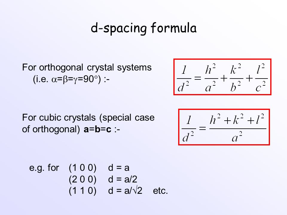 d-spacing formula For orthogonal crystal systems (i.e. ===90) :-