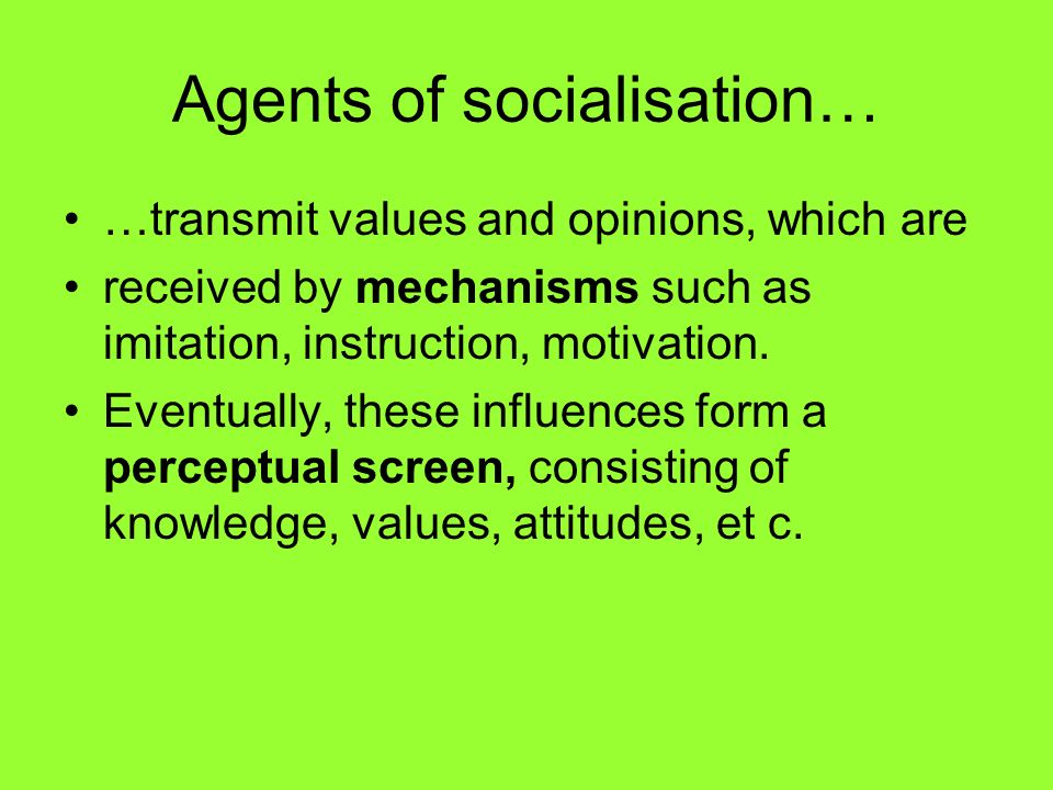 Agents of socialisation…