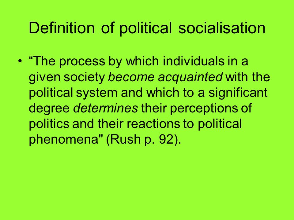 Definition of political socialisation