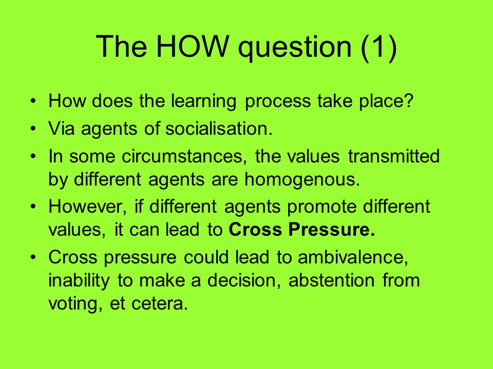 The HOW question (1) How does the learning process take place
