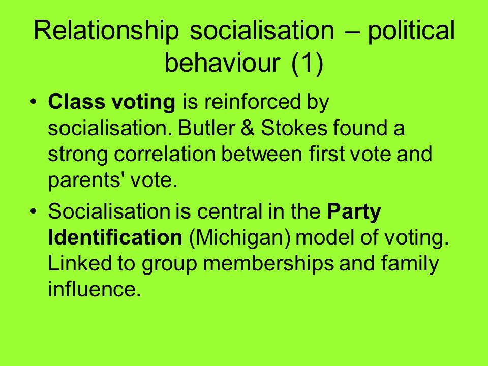 Relationship socialisation – political behaviour (1)
