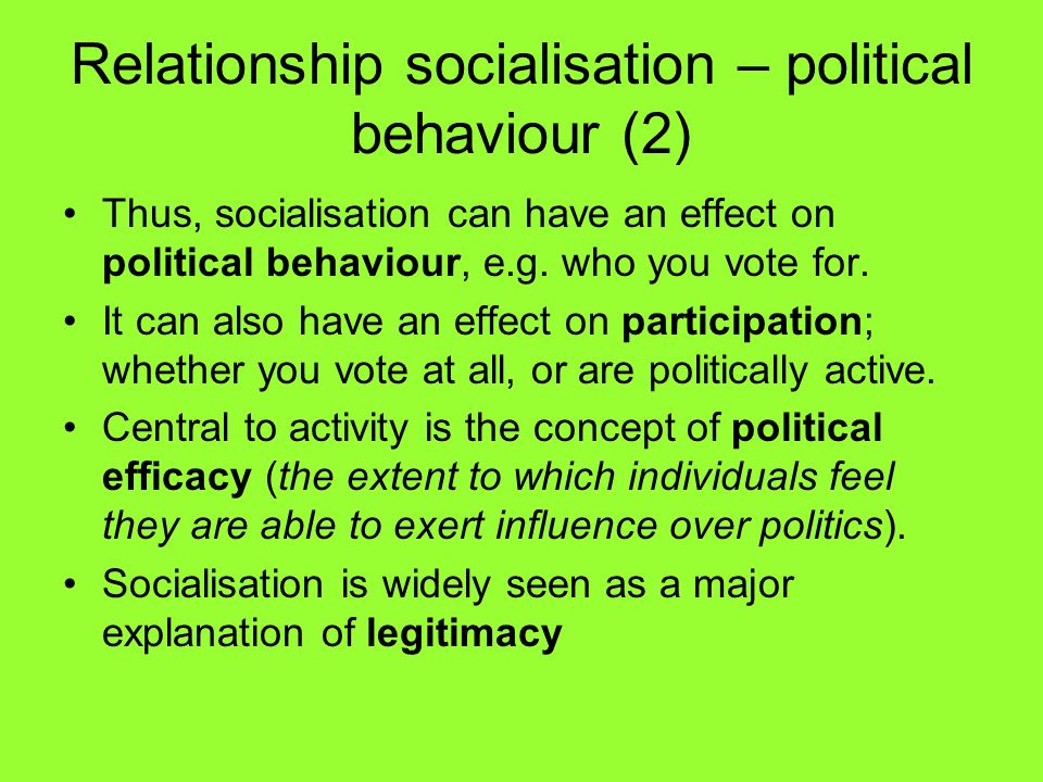 Relationship socialisation – political behaviour (2)