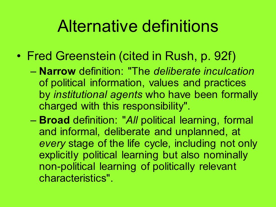 Alternative definitions